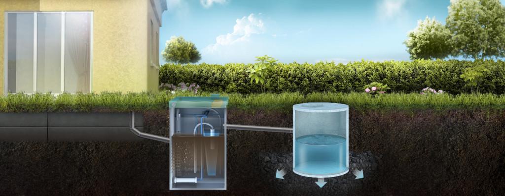 Отвод воды в дренажный колодец
