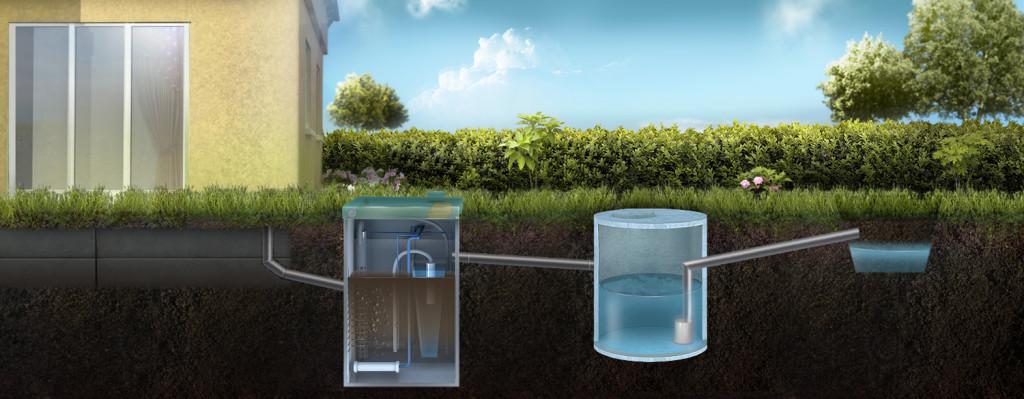 Отвод очищенной воды из ТОПАС через накопительный резервуар в ливневую канаву